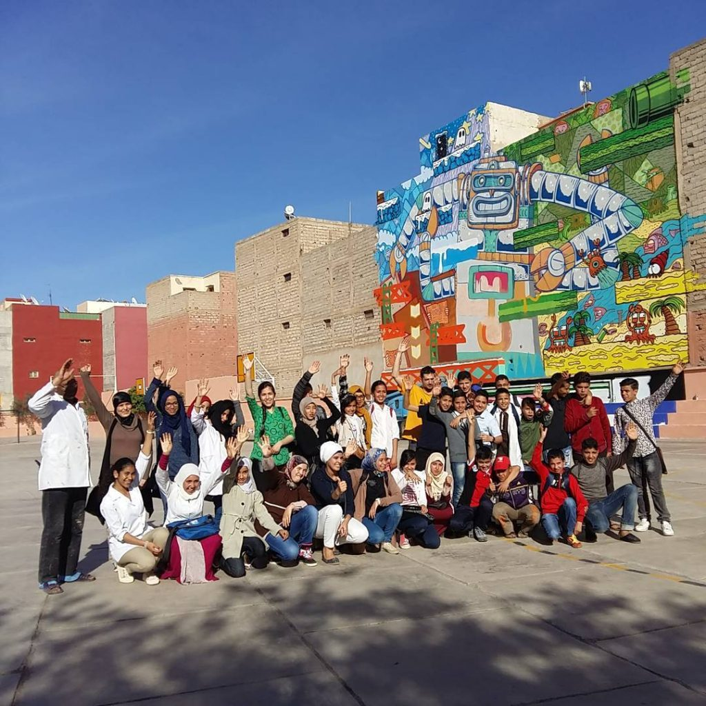 Marrakech Biennale: 360 m2 mural by POES and JO BER