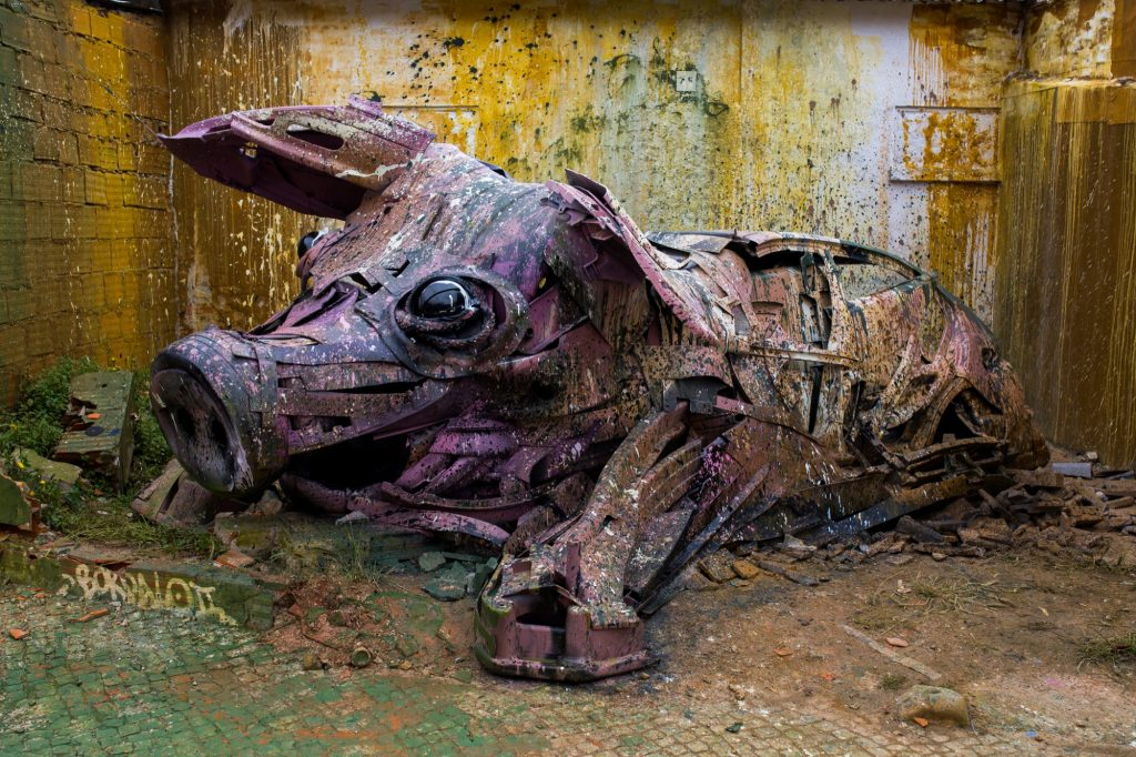 """Pig"" by Bordalo II in Lisbon, Portugal"