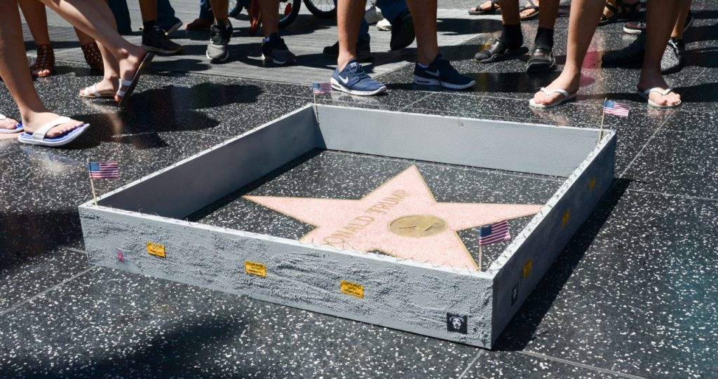 Plastic Jesus built a wall around Donald Trump's Hollywood star