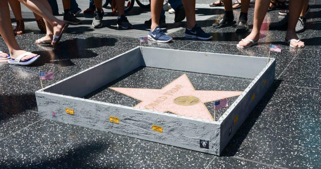 Plastic Jesus built a wall around Donald Trump's Hollywood star