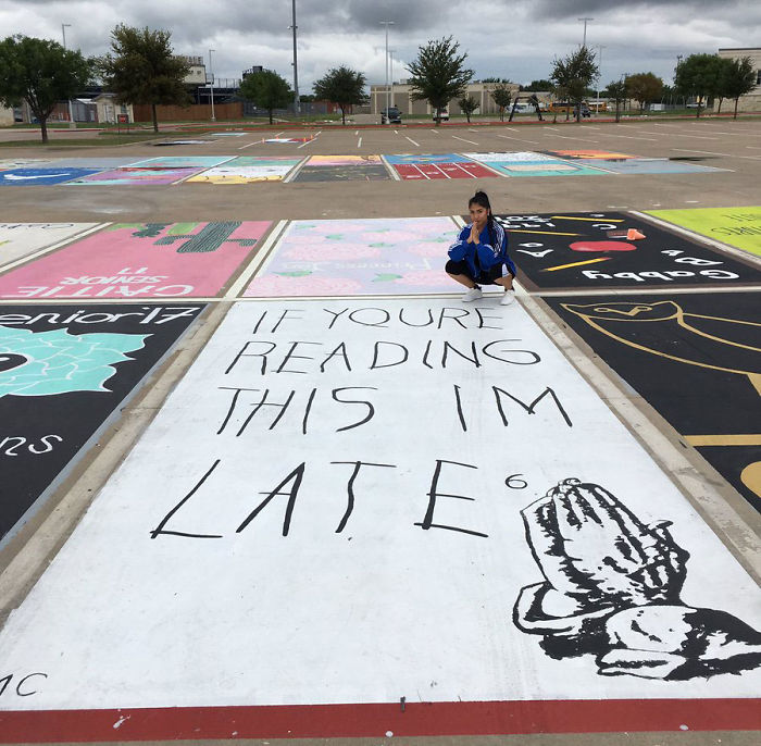 High School Seniors paint their own parking spaces in Florida & Texas