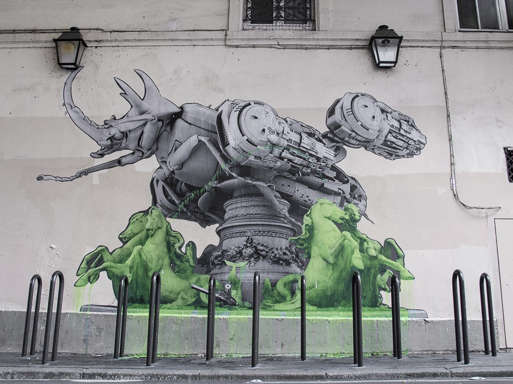 New A few hours ago French artist Ludo took over another street in the city of Paris to create one of his signature green mutations