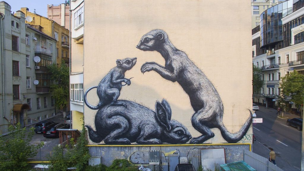ROA Paints a New Mural In Kiev, Ukraine