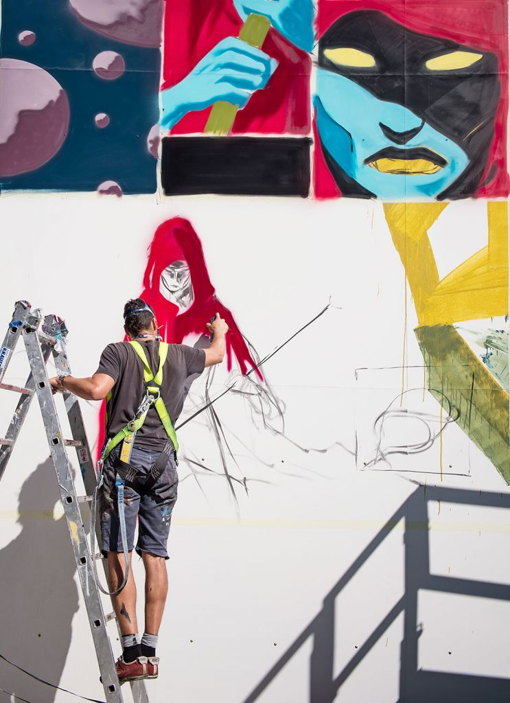 International artists paint an art installation for Urban Nation, at Lollapalooza Music Festival, in Berlin, in September 2016. #UrbanNation #UrbanNationBerlin #MuseumofUrbanAndContemporaryArt #streetart #deih.xlf #Lollapalooza @urbannationberlin @deih.xlf photo by Nika Kramer