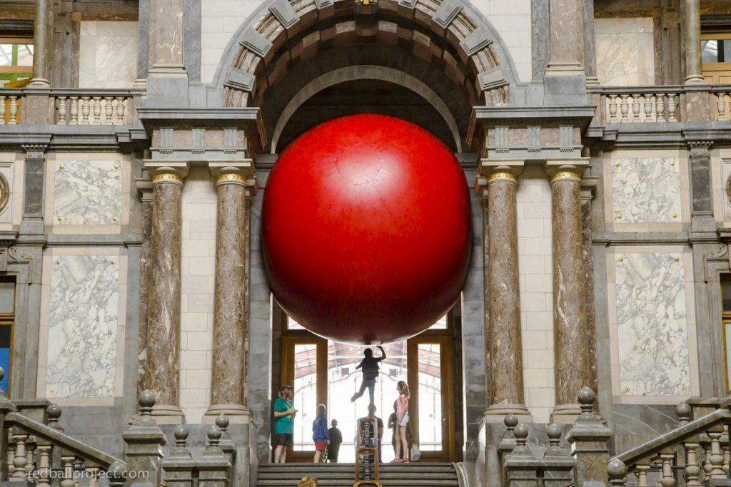 """""""Redball Project"""" by Kurt Perschke in Antwerp, Belgium"""