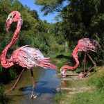 """Flamingo"" an installation by Bordalo II in Oeiras, Portugal"