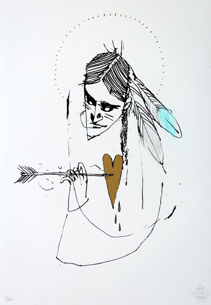 """Word To Mother """"Divine Arrow"""" Hand Finished Screen Print"""