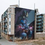 """Hit the Lights"" mural collaboration by Sebas Velasco & Telmo Miel in Rotterdam"