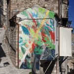 Murals in medieval town of Civitacampomarano, Italy by Gola Hundun