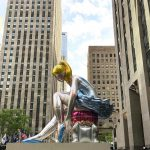 """""""Seated Ballerina"""" inflated sculpture by Jeff Koons at Rockefeller Center"""