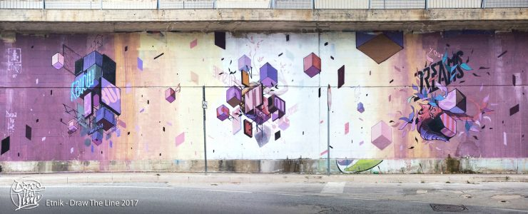 Etnik creates a three episode mural in Campobasso, Italy