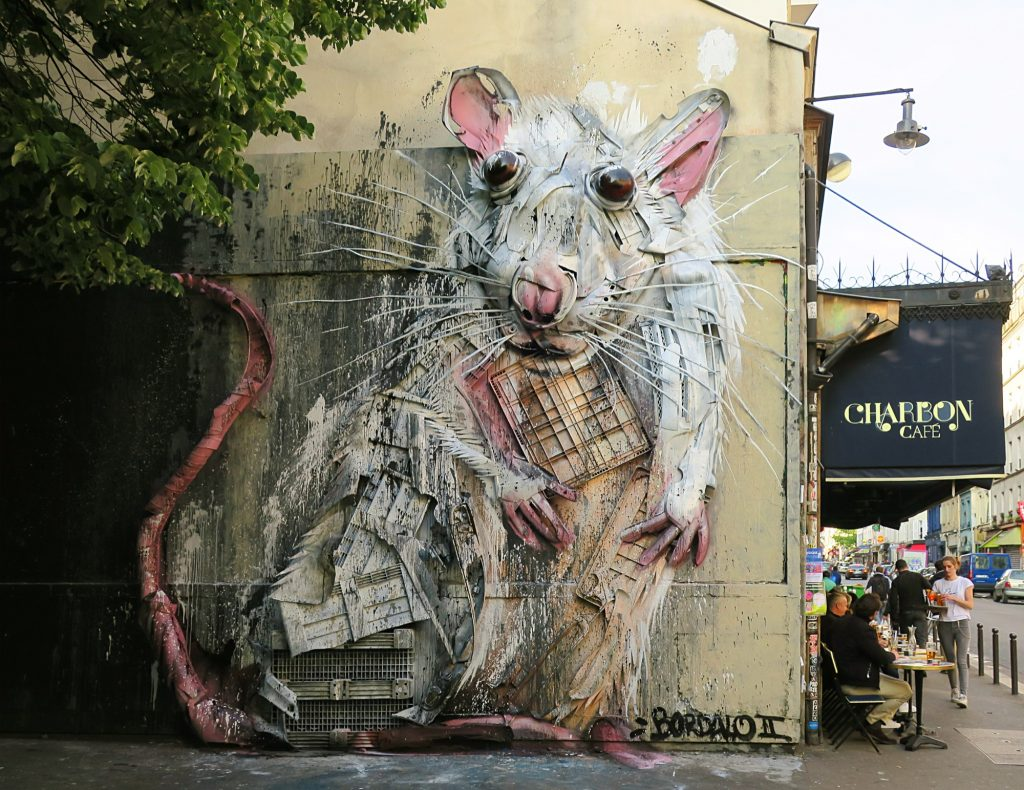"""Lab Rat"" by Bordalo II in Paris"