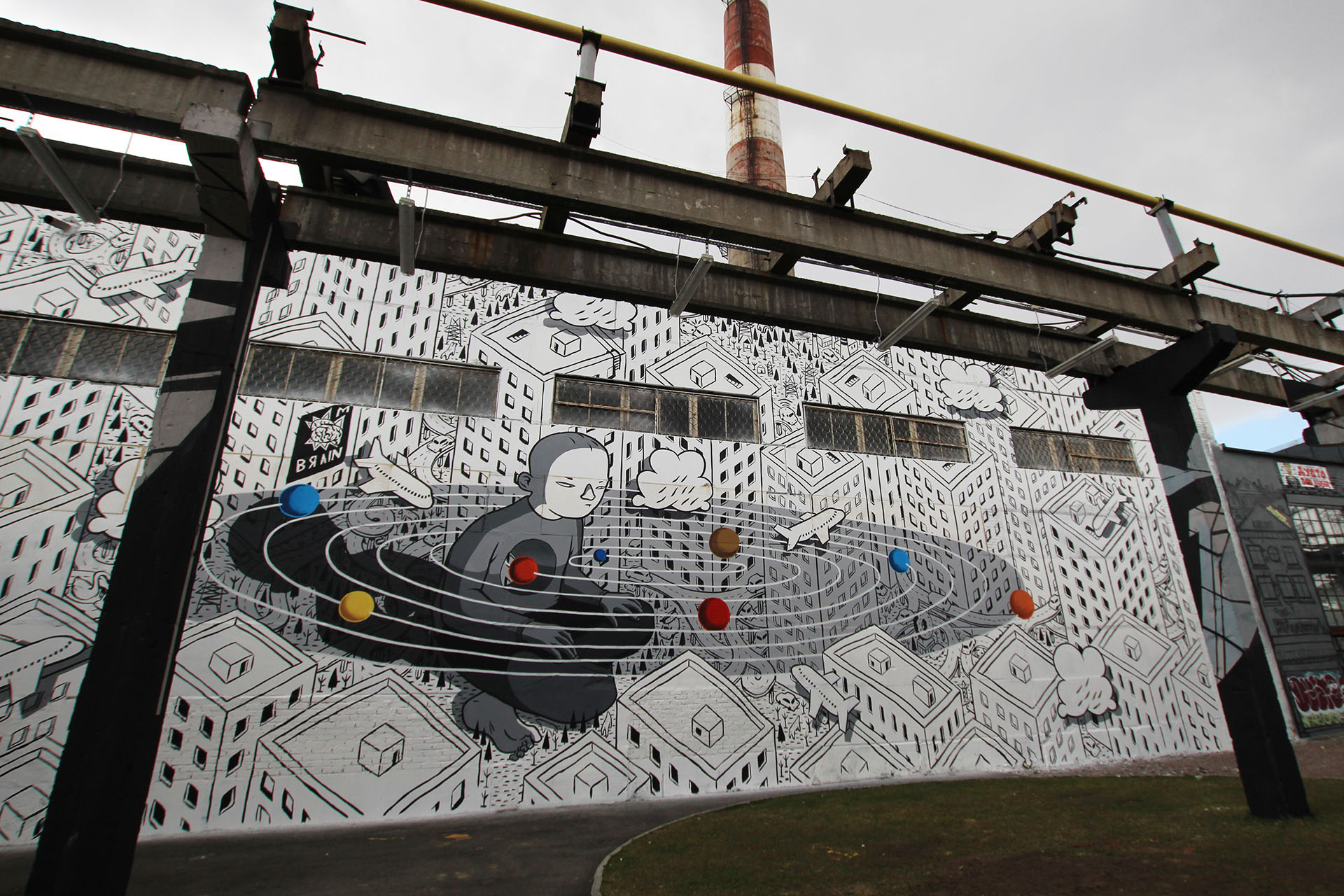 Trend Millo painted this outdoor mural for the exhibition ucBrighter Days Are Coming ud held by the Street Art Museum and Goethe Institut curated by SAM
