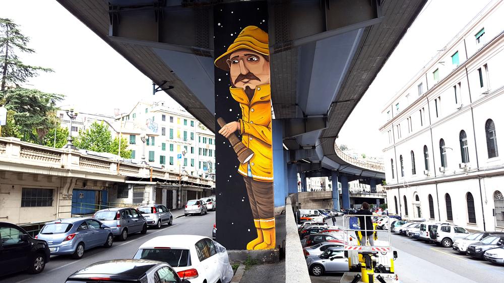 Fresh new mural tribute to Genova fisherman by SeaCreative