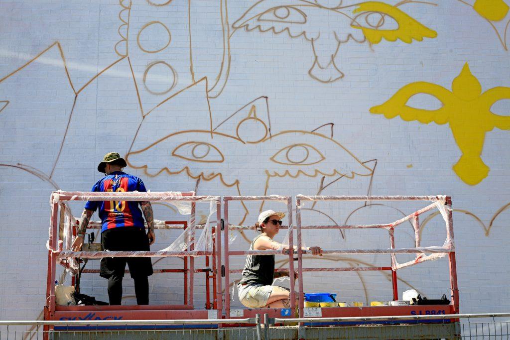 Mural 2017: Work in progress by Ricardo Cavolo in Montreal
