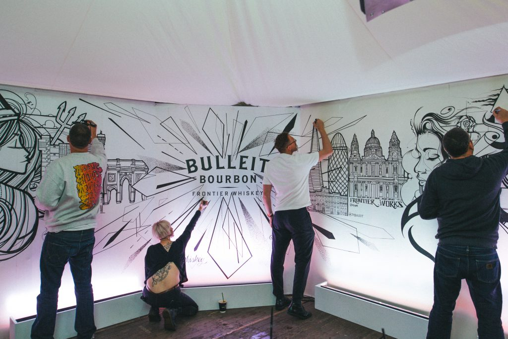 Bulleit Whiskey Live Mural at London Food Month Night Market by Inkie, Mr Cenz, Robin Mackney and Rose Harley & Interview with Bulleit Brand Ambassador Joe Tivey