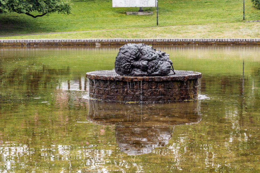 """John the Baptist's Head"" a sculpture by Szymon Ryczek in Lodz, Poland"