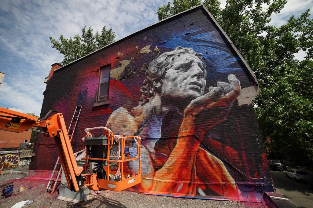 Mural 2017: Work in progress by Dodo Ose in Montreal
