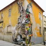 """Half Rabbit"" by Bordalo II in Vila Nova de Gaia, Portugal"
