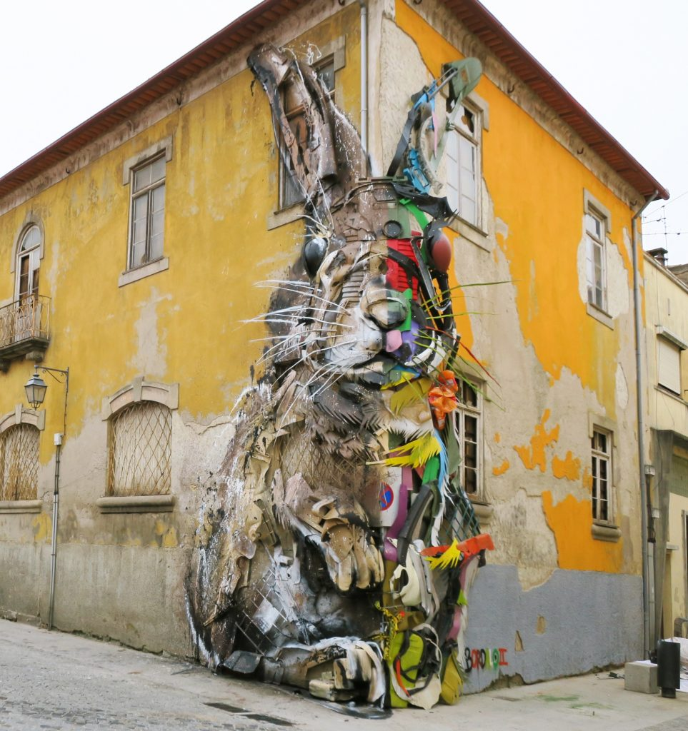 """Half Rabbit"" by Bordalo II in Vila Nova de Gaia, Portugal"