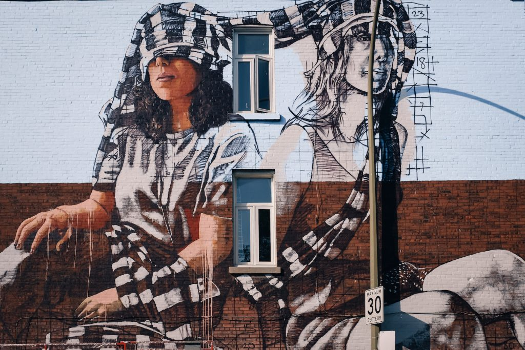 Mural 2017: Work in progress by Fintan Magee in Montreal