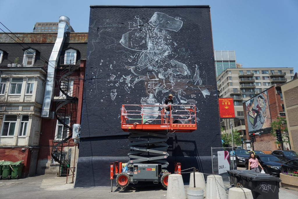Mural 2017: Work in progress by Onur in Montreal