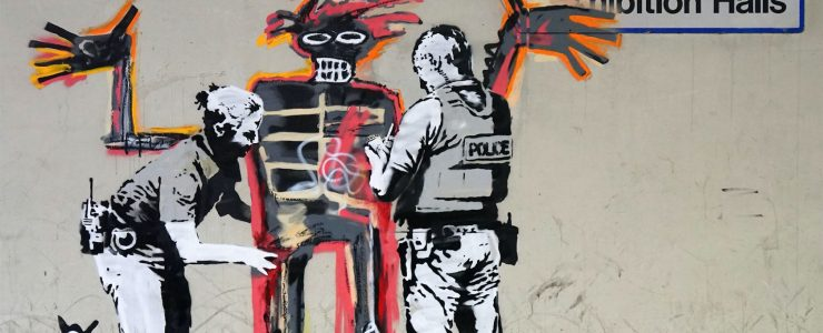 Banksy pays tribute to Basquiat in London, UK