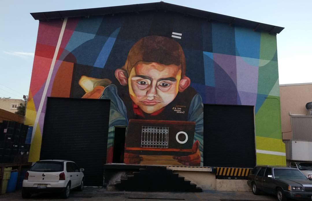 """Is this modern society?"" by Jupiterfab in Guadalajara, Mexico Artes & contextos mural 1"