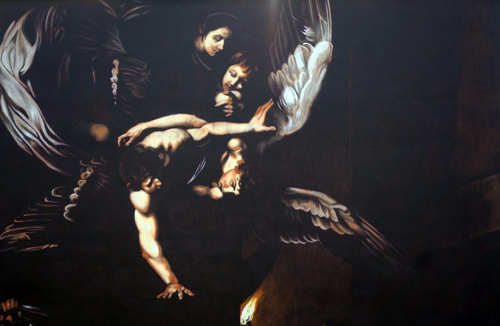 """The seven works of Mercy"" by Caravaggio in Rome, reproduced by Andrea Ravo Mattoni"