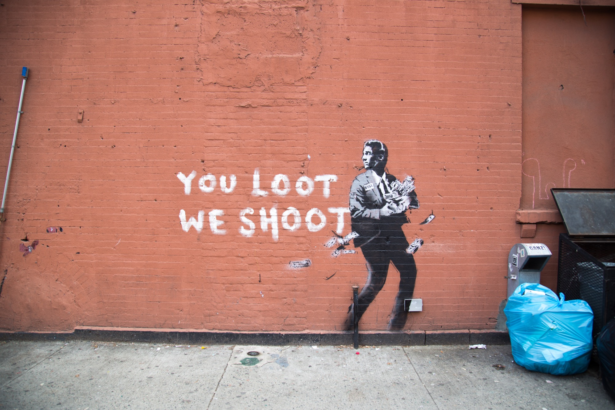 New York City Wall Mural Quot You Loot We Shoot Quot By Banksy In New York City