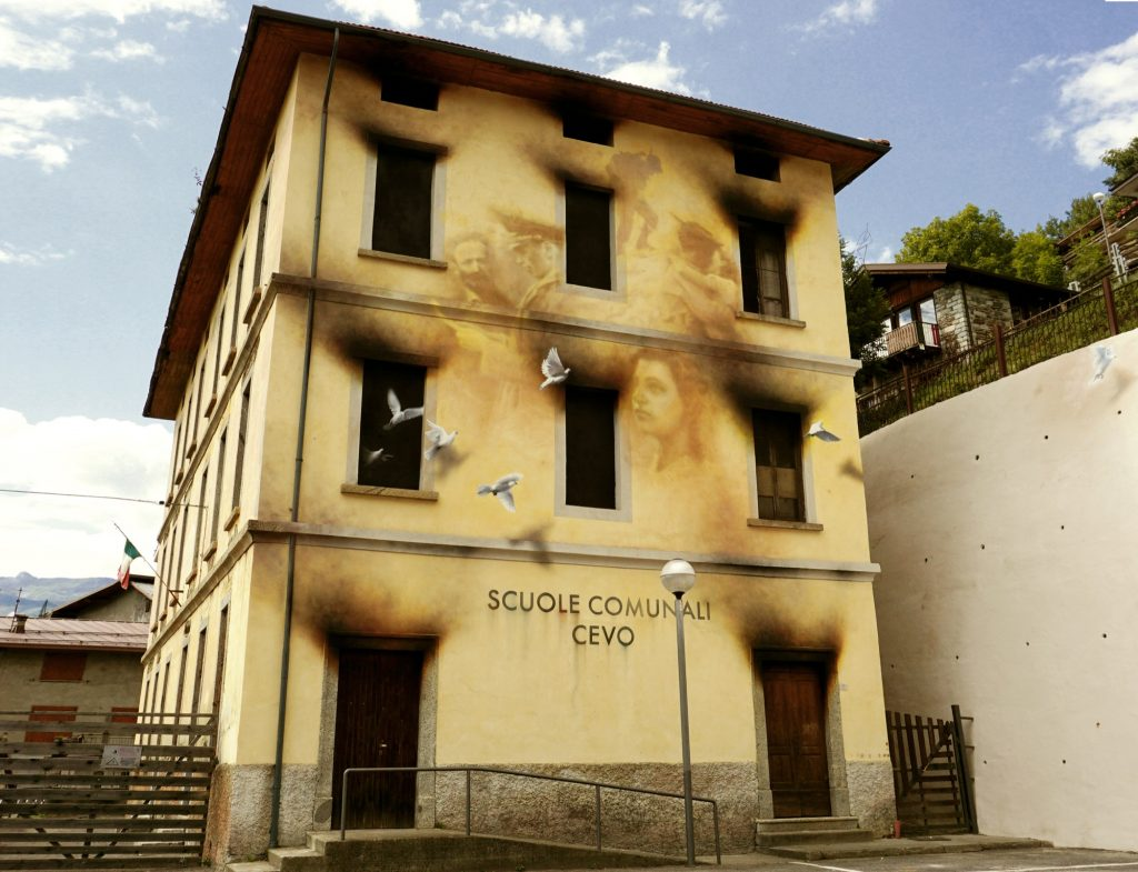 Anti-War Mural by Eron in Cevo, Italy
