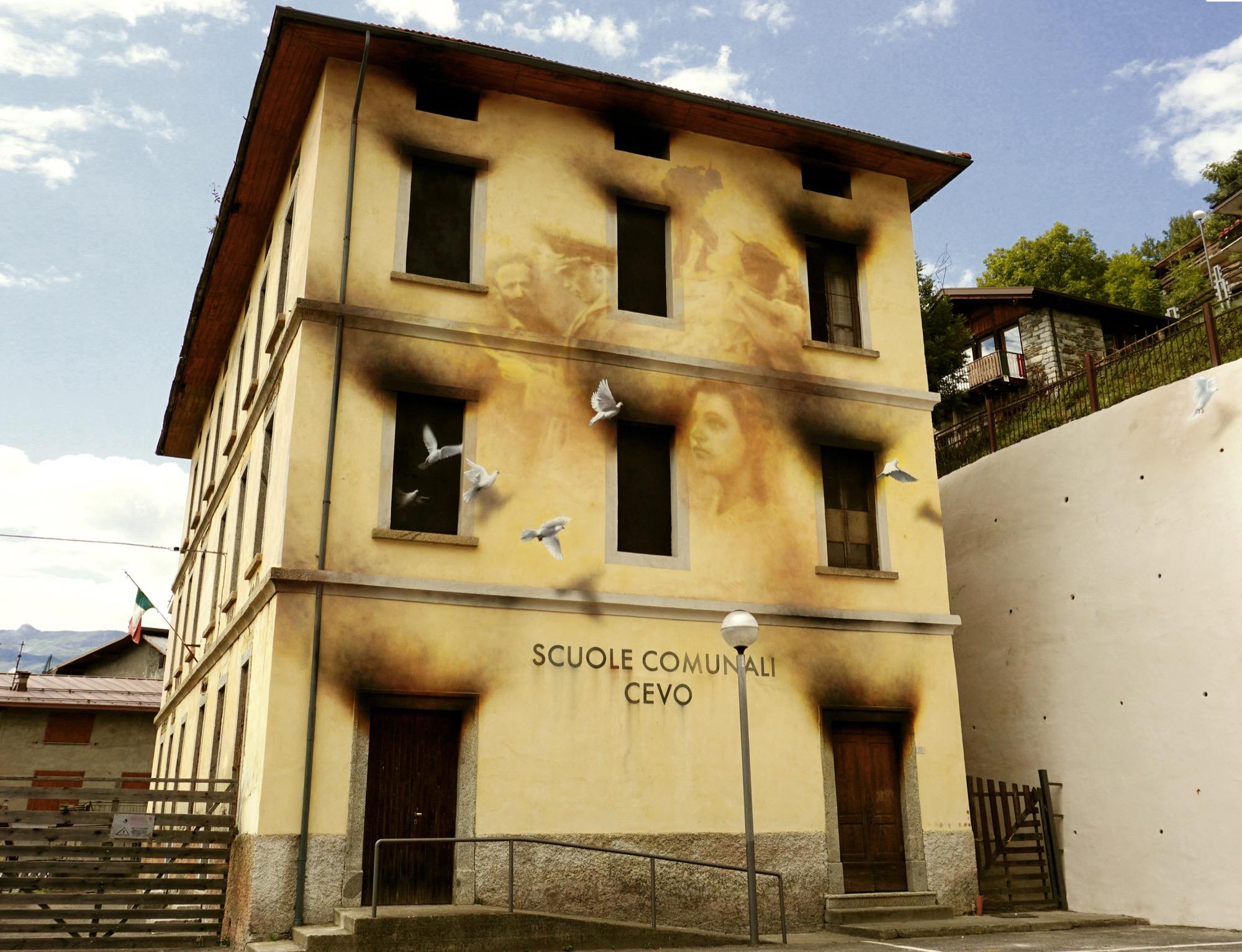 Anti-War Mural by Eron in Cevo, Italy | StreetArtNews | StreetArtNews