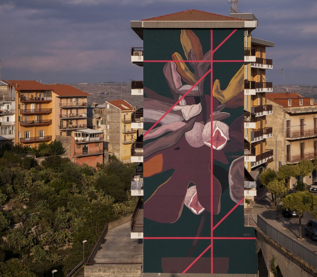 Pastel latest wall in Ragusa, Italy