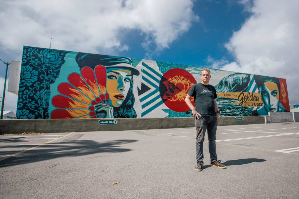 """Golden Future?"" by Shepard Fairey in Honolulu"