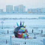 Okuda installs the world's northernmost sculpture in Yakustk, Russia