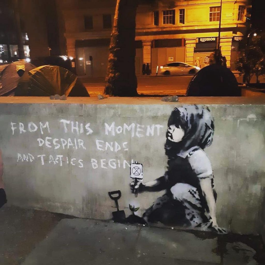"""Despair Ends"" by Banksy in Marble Arch, London"