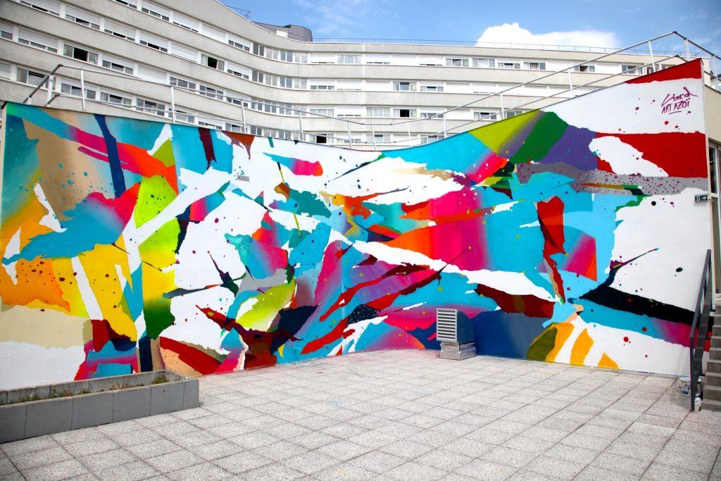 Arnaud Liard creates a vibrant mural in Paris, France