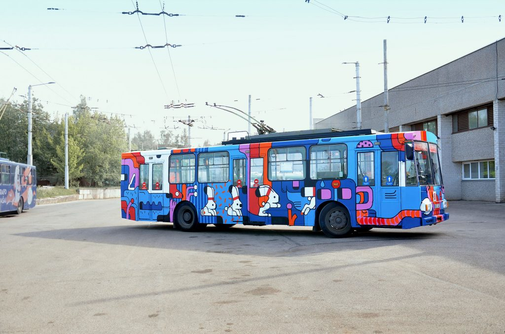Animated Buses by Artur Shirin in Kaunas, Lithuania