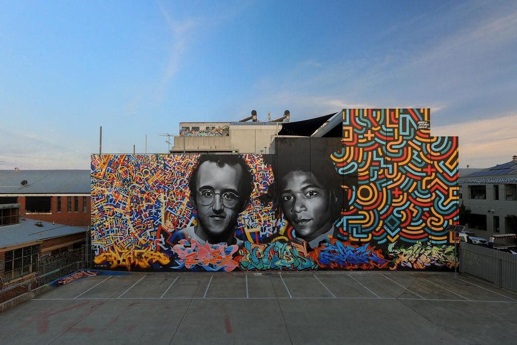 Haring Basquiat tribute mural Melbourne 2019