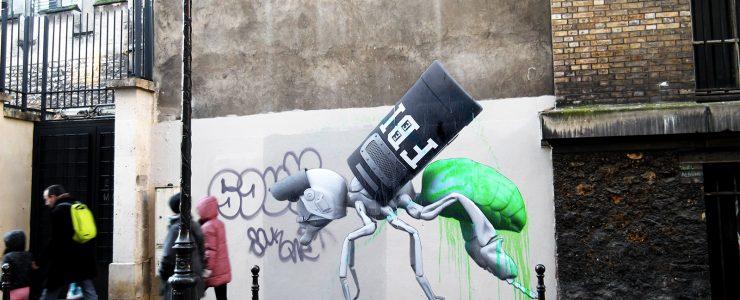 Ludo latest street pieces in Paris, France