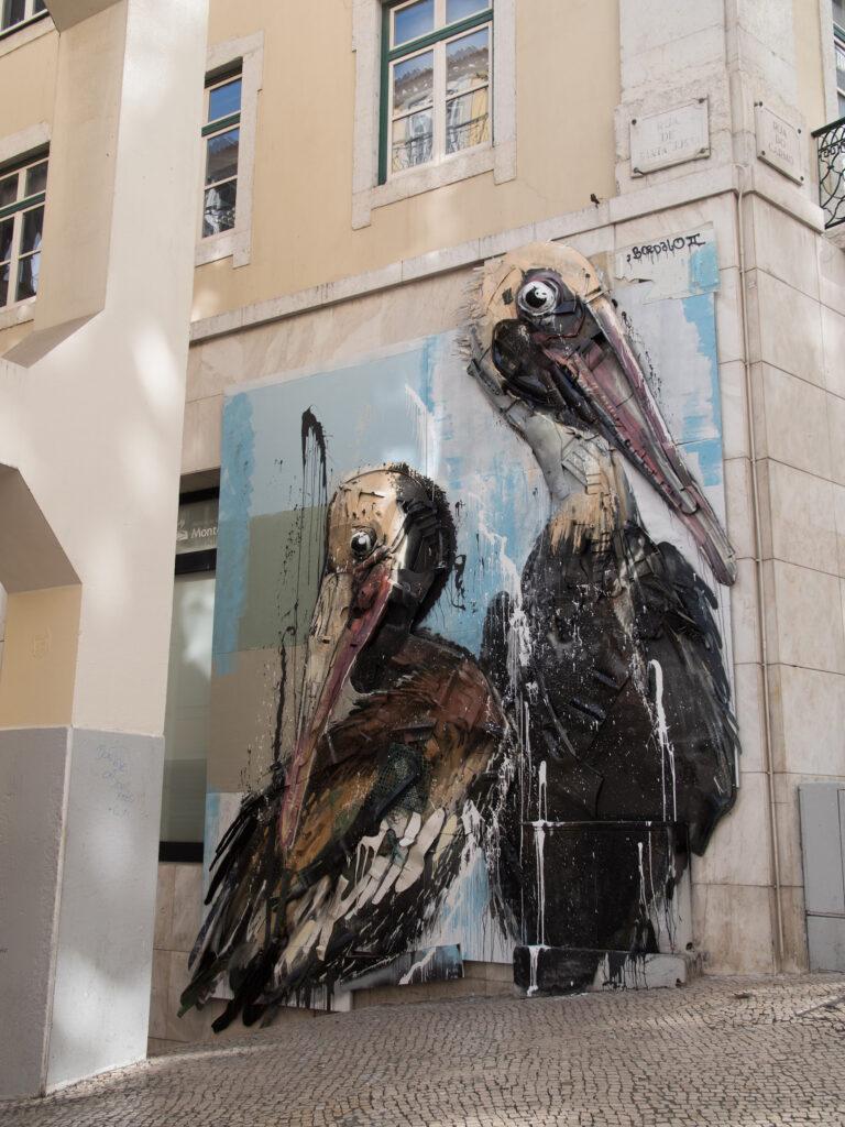 Pelicans by Bordalo II in Lisboa, Portugal