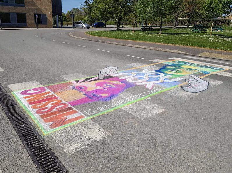 Street Art by 15-year-old Rowan Briggs Smith in Response to Coronavirus