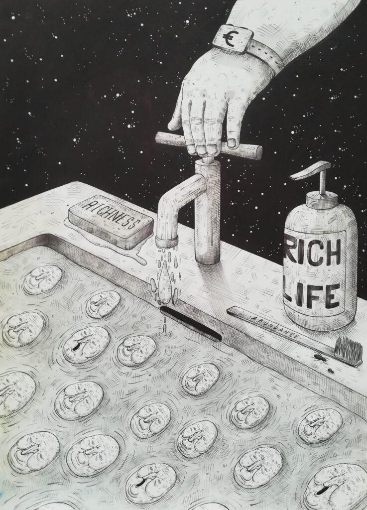 "Luca Ledda ""The Irony of Abundance"" New Original Drawing Available"