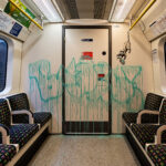 """Banksy """"If You Don't Mask, You Don't Get"""" in London Tube"""