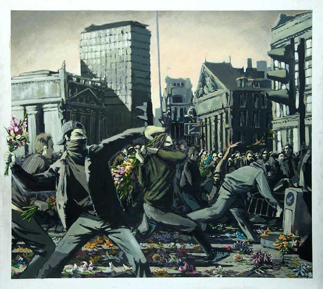 Descobrindo Banksy – Parte 2 Artes & contextos Riot Painting Glasgow 1997